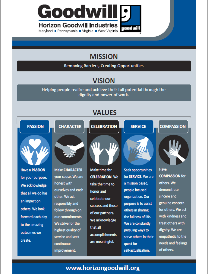 This is a link that goes to the Mission, Mission and Values PDF