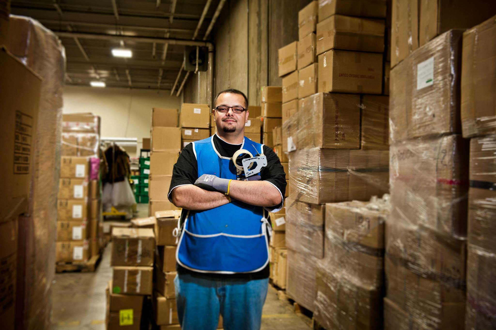 Warehouse worker posing