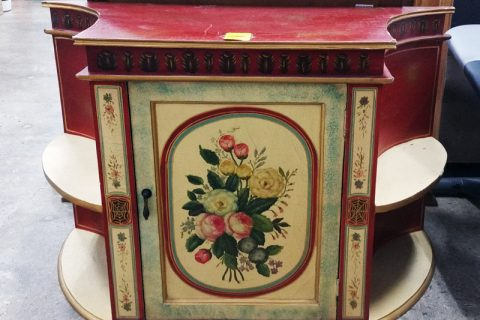 Vintage Red and yellow floral TV stand with side shelves and cabinet