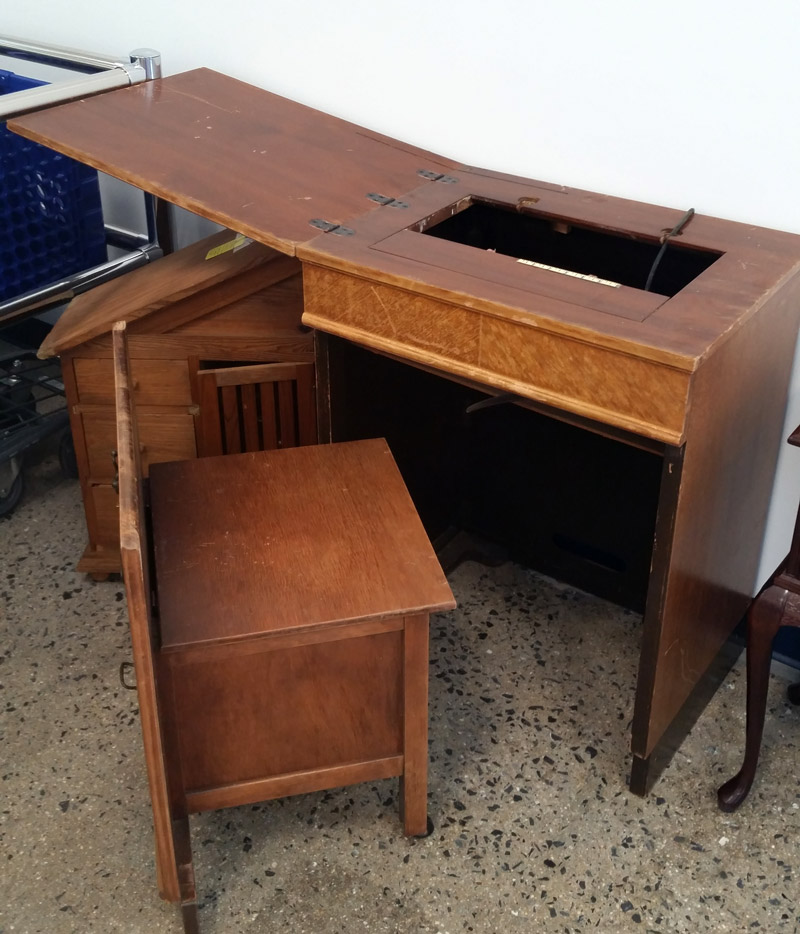 South End Store: Antique Sewing Table with hidden bench!