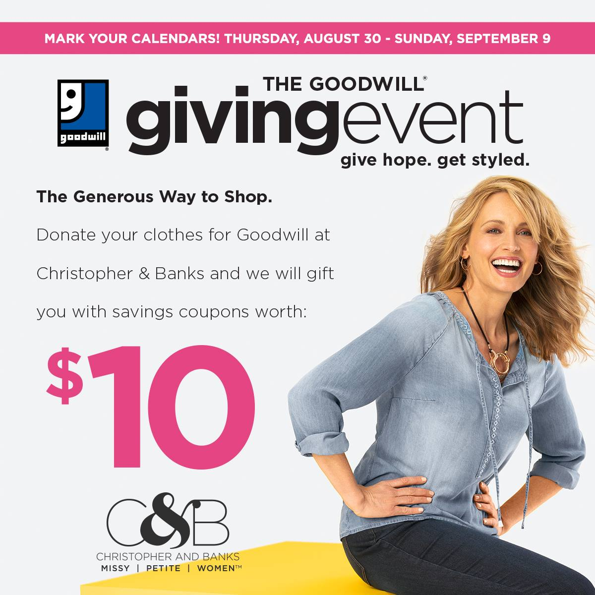 Giving Event starting August 30th