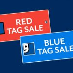 tag sale red blue